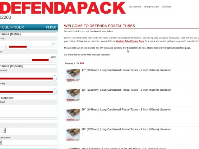 Visit Defendapostaltubes.co.uk to use our postal tube finder
